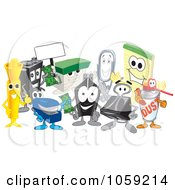 Royalty Free Vector Clip Art Illustration Of A Group Of Office Supply Characters