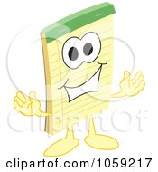 Royalty Free Vector Clip Art Illustration Of A Notepad Character Welcoming by Toons4Biz