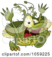 Royalty Free Vector Clip Art Illustration Of A Gross Green Bug Character Running