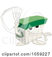 Royalty Free Vector Clip Art Illustration Of A Recycled Paper Box Character Holding Pages