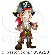 Royalty Free Vector Clip Art Illustration Of A Happy Pirate Holding A Thumb Up