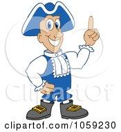 Royalty Free Vector Clip Art Illustration Of A Patriot Pointing Upwards by Toons4Biz
