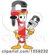 Royalty Free Vector Clip Art Illustration Of A Monkey Wrench Character by Toons4Biz