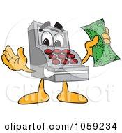 Royalty Free Vector Clip Art Illustration Of A Cash Register Character Holding A Dollar Bill