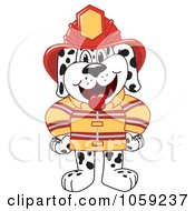 Royalty Free Vector Clip Art Illustration Of A Dalmatian Fireman by Toons4Biz