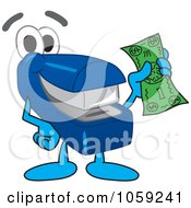 Royalty Free Vector Clip Art Illustration Of A Stapler Character Holding Cash
