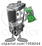 Royalty Free Vector Clip Art Illustration Of A Toner Ink Cartridge Character Holding Cash by Toons4Biz