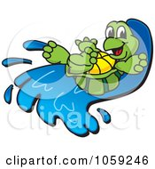 Royalty Free Vector Clip Art Illustration Of A Happy Tortoise On A Water Slide by Toons4Biz