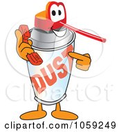 Royalty Free Vector Clip Art Illustration Of An Office Dusting Can Character Holding A Phone