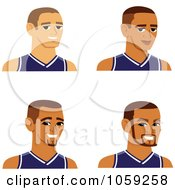 Digital Collage Of Male Avatars Wearing Jerseys