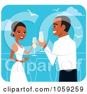 Royalty Free Vector Clip Art Illustration Of A Black Wedding Couple Toasting With Champagne by Monica