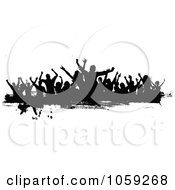 Grungy Black And White Border Of Silhouetted Dancers - 3