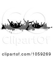 Royalty Free Vector Clip Art Illustration Of A Grungy Black And White Border Of Silhouetted Dancers 1