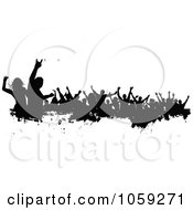 Royalty Free Vector Clip Art Illustration Of A Grungy Black And White Border Of Silhouetted Dancers 2