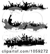 Royalty Free Vector Clip Art Illustration Of A Digital Collage Of Grungy Black And White Borders Of Silhouetted Dancers