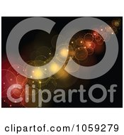 Royalty Free Vector Clip Art Illustration Of A Background Of Red Orange And Yellow Bokeh Lights Against Black
