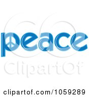 Royalty Free Vector Clip Art Illustration Of The Blue Word Peace