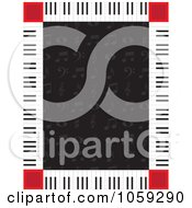 Piano Key Border Around Music Notes On Black