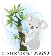 Royalty Free Vector Clip Art Illustration Of A Cute Koala Climbing A Tree by Pushkin