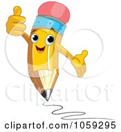 Royalty Free Vector Clip Art Illustration Of A Pencil Character Holding A Thumb Up by Pushkin