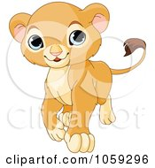 Royalty Free Vector Clip Art Illustration Of A Proud Cute Baby Lion Cub Walking by Pushkin
