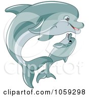 Royalty Free Vector Clip Art Illustration Of A Cute Baby Dolphin Swimming With An Adult Dolphin by Pushkin