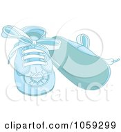 Royalty Free Vector Clip Art Illustration Of A Pair Of Blue Boy Baby Shoes With Laces by Pushkin
