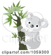 Royalty Free Vector Clip Art Illustration Of A Cute Koala In A Tree by Pushkin