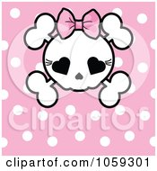 Royalty Free Vector Clip Art Illustration Of A Polka Dot Background With A Girly Skull