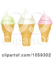 Royalty Free Vector Clip Art Illustration Of Three Ice Cream Cones by elaineitalia
