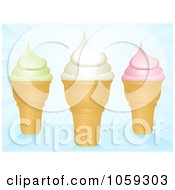 Royalty Free Vector Clip Art Illustration Of Three Ice Cream Cones On Blue Rays by elaineitalia