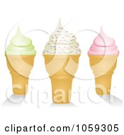 Royalty Free Vector Clip Art Illustration Of Three Ice Cream Cones One With Sprinkles by elaineitalia