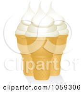 Royalty Free Vector Clip Art Illustration Of Three Vanilla Ice Cream Cones by elaineitalia