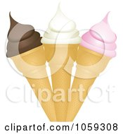 Royalty Free Vector Clip Art Illustration Of A Trio Of Ice Cream Cones by elaineitalia