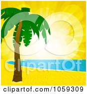 Royalty Free Vector Clip Art Illustration Of Sunset Flares Over A Tropical Beach Shoreline And Palm Tree by elaineitalia