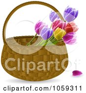 Royalty Free Vector Clip Art Illustration Of A Wicker Basket Of Spring Tulips by elaineitalia