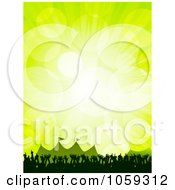 Royalty Free Vector Clip Art Illustration Of A Concert Crowd Of Hands Near Tents At A Festival Over Green With Flares