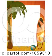 Royalty Free Vector Clip Art Illustration Of A Vertical Sunset Beach Frame With A Palm Tree And Surf Board Around White Space
