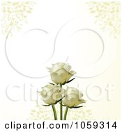 Two White Roses On An Ivory Background With Vines