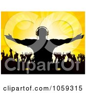 Royalty Free Vector Clip Art Illustration Of A Silhouetted Male Dj Over Dancing Fans On Yellow