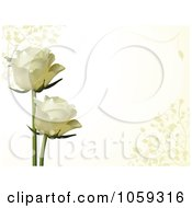 Two White Roses On A Horizontal Ivory Background With Vines