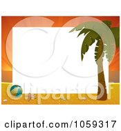 Royalty Free Vector Clip Art Illustration Of A Horizontal Sunset Beach Frame With A Palm Tree And Beach Ball Around White Space