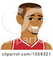 Royalty Free Vector Clip Art Illustration Of A Male Avatar Wearing A Basketball Jersey 3