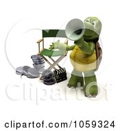 Royalty Free CGI Clip Art Illustration Of A 3d Tortoise Director Using A Cone