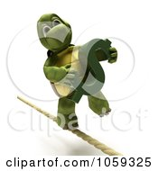Royalty Free CGI Clip Art Illustration Of A 3d Tortoise Walking A Tight Rope With A Dollar Symbol