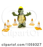 Royalty Free CGI Clip Art Illustration Of A 3d Tortoise Construction Worker Gesturing To Stop By Cones