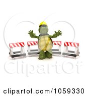 Royalty Free CGI Clip Art Illustration Of A 3d Tortoise Construction Worker Gesturing To Stop By Barricades by KJ Pargeter