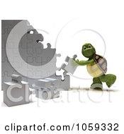 Poster, Art Print Of 3d Tortoise Assembling Puzzle Pieces