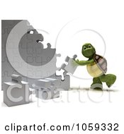 Royalty Free CGI Clip Art Illustration Of A 3d Tortoise Assembling Puzzle Pieces