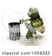 Royalty Free CGI Clip Art Illustration Of A 3d Tortoise Recycling A Can by KJ Pargeter
